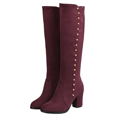 AIYOUMEI Damen Kniehohe Stiefel mit Nieten und Blockabsatz High Heel Winter Langschaft Knee High Boots Weinrot