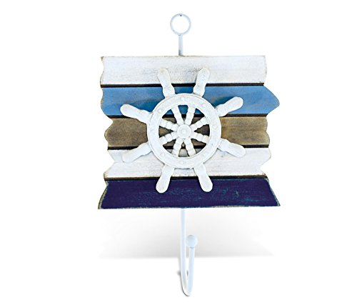 (Puzzled COTA Global Nautical Atlantic Ship Wheel Hook Ocean Beach Boat Theme Décor Real Natural Wood