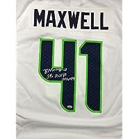 "$115 » Seattle Seahawks Byron Maxwell Autographed White Nike Jersey""SB XLVIII Champs"" Size XL MCS Holo Stock #76417"