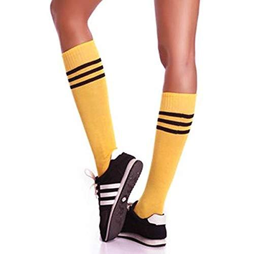Soccer Socks,Totalmall Unisex Stripe Team Sports Football Middle Tube Socks Athletic Solid Socks for Work/Sport/Dress | Ultra-Dry (yellow black stripes)