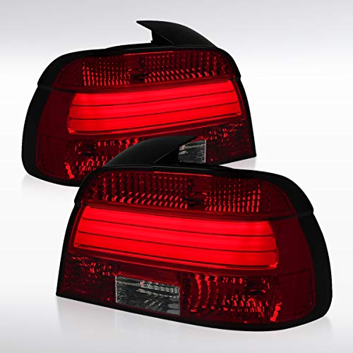 Autozensation For BMW E39 5-Series 528i 540i Red&Smoke LED Rear Brake Lamps Stop Tail Lights Pair ()