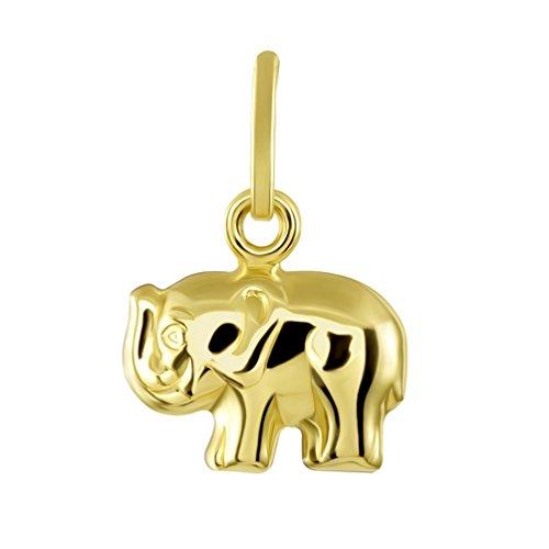 - 14K Yellow Gold Mini Elephant Charm Feng Shui Symbol Pendant