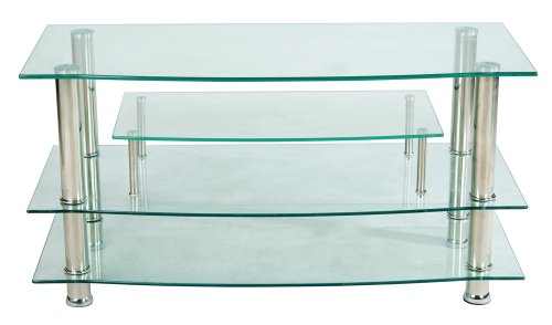(Home Source Industries TV4281 Modern TV Stand with Shelving for Components, Clear)