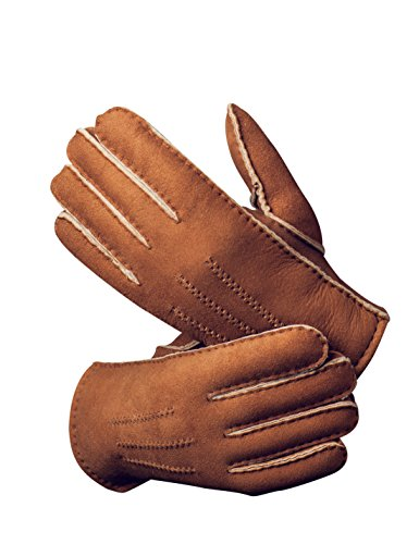 YISEVEN Men's Merino Rugged Lambskin Shearling Leather Gloves Three Points Short Cuff Soft Thick Fur Warm Heated Lining for Winter Dress Driving Motorcycle Work Fashion Chic Xmas Gifts, Camel XL