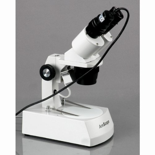 AmScope SE305R-AZ-E2 Digital Forward-Mounted Binocular Stereo Microscope, WF10x and WF20x Eyepieces, 10X/20X/30X/60X Magnification, 1X and 3X Objectives, Upper and Lower Halogen Light Source, Arm Stand, 120V, Includes 2MP Camera and Software by AmScope (Image #2)
