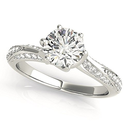 Twist Shank Prong Unique Moissanite Engagement Ring 0.75 Ctw.