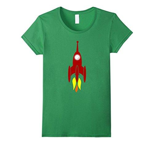 Grass Clipart - Womens Booster Space Rocket Clip-Art T-Shirt Small Grass