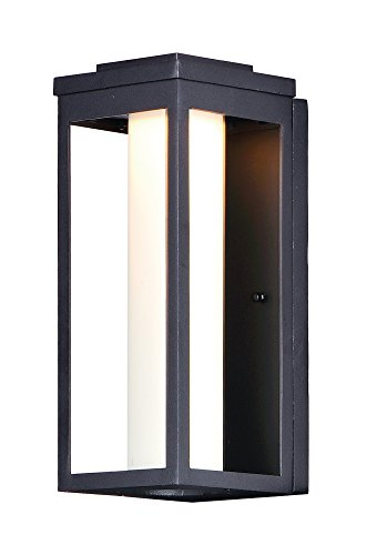 Maxim 55904SWBK Salon LED 1-Light Outdoor Wall, Black Finish, Satin White Glass, PCB LED Bulb , 100W Max., Damp Safety Rating, Standard Dimmable, Shade Material, 3450 Rated Lumens