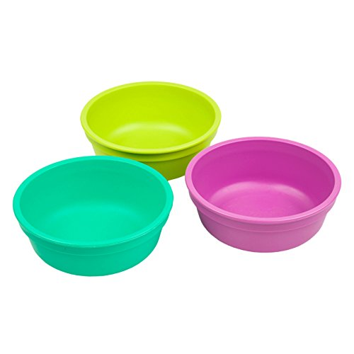 Re-Play Made in the USA 3pk Bowls for Easy Baby, Toddler, and Child Feeding - Aqua, Green, Purple (Mermaid)