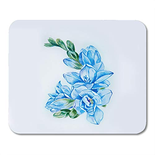 Semtomn Gaming Mouse Pad Colorful Abstract Sketch of Beautiful Blue Freesia Flower 9.5