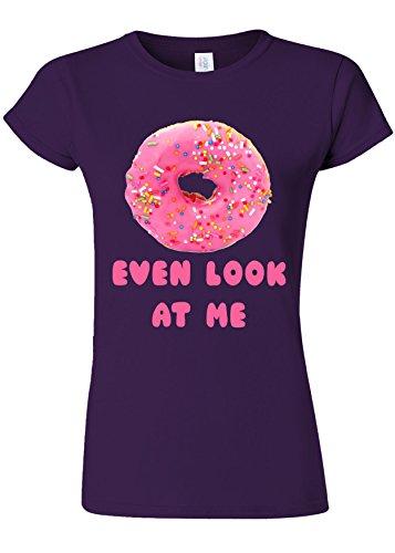 ベーコン作り切断するDoughnut Do Not Even Look At Me Novelty Purple Women T Shirt Top-XXL
