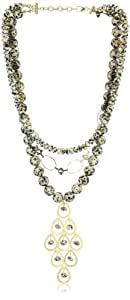 "Devon Leigh ""Statement Necklaces"" Animal Print Jasper Multi-Tier Two-Tone Necklace"