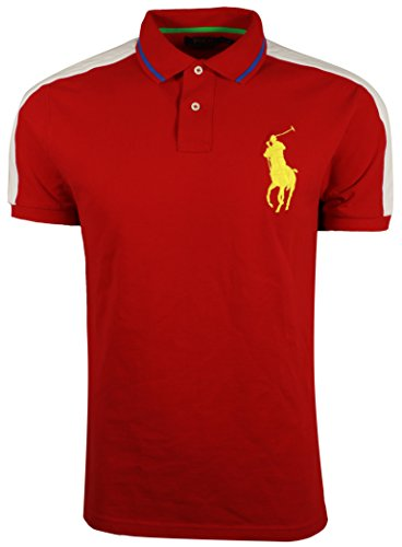Polo Ralph Lauren Men's Big Pony Custom Slim Fit Mesh Polo Shirt (Large, Red - Big Watch Polo