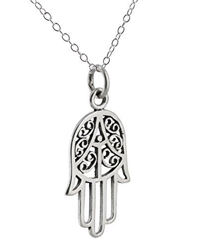 Sterling Silver Hamsa Pendant Necklace, 18 Inch Chain, Amulet Evil Eye