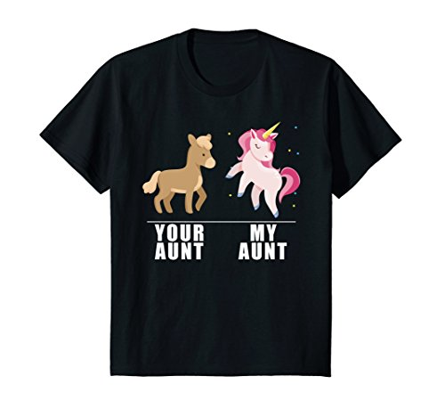 Aunt Girls T-shirt (Kids Your Aunt My Aunt Unicorn T-Shirt 12 Black)