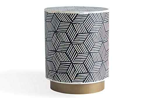 Edloe Finch Modern Maha Geo Bone Inlay End Table Round, Gold Base Black & White (Inlay Bone Table Side)