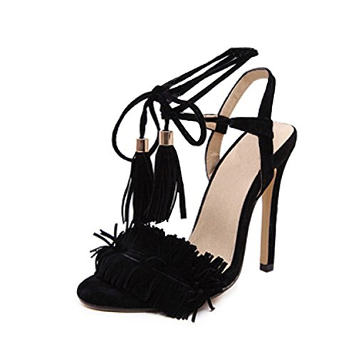 Shoes Sandals Sandlias Heel Fashion Black Sexy Shoes Tassels Jimmetfrend Ladies High Women Gladiator xSEO1cqYw