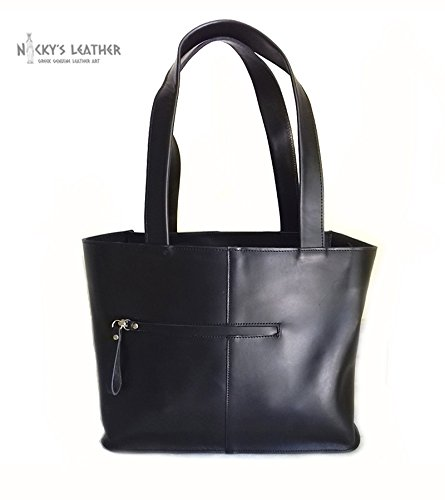BLACK LEATHER TOTE Bag from Real Full Grain Leather 100% Handmade by Nickys Leather