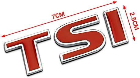 Colore 1 PT-Decors Emblema per Auto TSI Rosso Argento 3D Lettera Simbolo Distintivo Adesivo per Auto parafanghi Laterali Auto paraurti Bagagliaio Bagagliaio Esterno Decalcomania