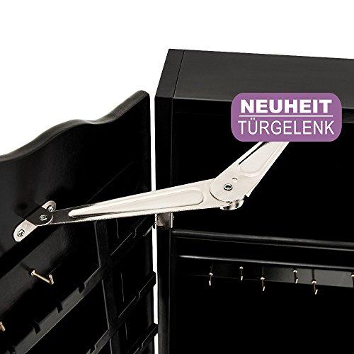 Spiegelschrank Schwarz + Türgelenk + Schubfächer + schwenkbar - Schmuckschrank Schrankspiegel -