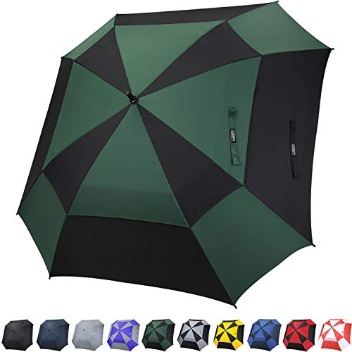 G4Free Extra Large Square-Shape Golf Umbrella 62 Inch Oversize Double Canopy Vented Umbrella Windproof Automatic Open Stick Umbrellas for Men Women