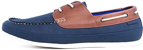 SHENBO Mens Blue Lace Up Classic Boat Shoes Blue 8H2cO5hCfm