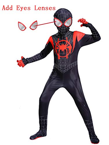 Piers Cosplay Superhero Dress Up Spandex Jumpsuit Zentai Miles Costume for Kids, M Black]()