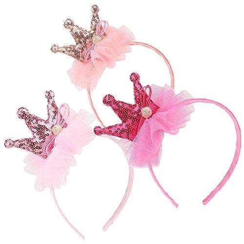 Elesa Miracle Kids Girl Sequins Tiara Crown Hair Hoop Hair Band Headband Value Set Toddler Crown Hair Hoops Party Favor (3pc- Pink Crown)]()