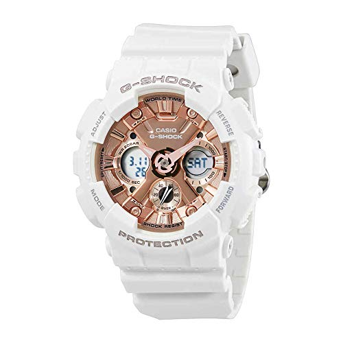 Casio Women's G Shock Stainless Steel Quartz Watch with Resin Strap, White, 29 (Model: GMA-S120MF-7A2CR) (G Shock Rose Gold & Black Collection)