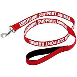 """Just 4 Paws Padded Emotional Support Leash with Neoprene Handle & Reflective Print on Both Sides, 4 Foot Long, 2 Widths, for Harnesses, Vests or Collars, Red (Regular 4' X 5/8"""", Red)"""