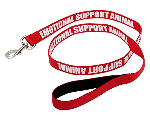 Just 4 Paws Padded Emotional Support Leash with Neoprene Handle & Reflective Print on Both Sides, 4 Foot Long, 2 Widths, for Harnesses, Vests or Collars, Red (Regular 4