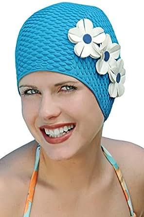 Vintage Swim Caps for Women: Triple Flower Swimcap Teal w
