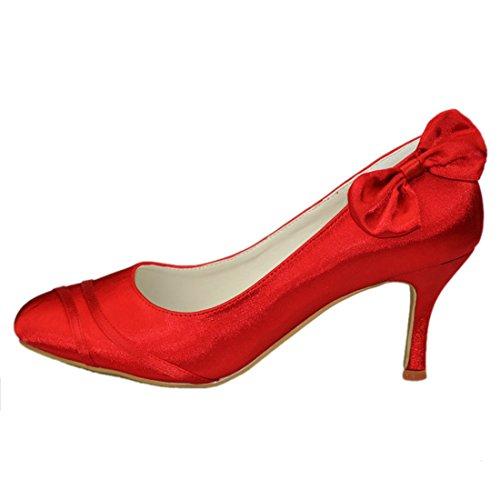 Pumps Toe Bowknot Minitoo Party Evening Womens Shoes Red Heel Wedding Closed Heel Satin 8cm GYAYL050 Bridal Stiletto nq4qTOA