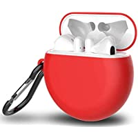 Huawei FreeBuds 3 Silicone Wireless Bluetooth Earphone Protective Case Storage Box With Hook - Red