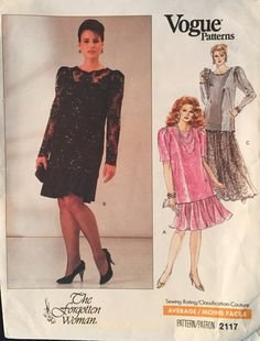 (Vogue # 2117 Dress and Tunic Cocktail Dress, Evening Gown, Mother of the Bride Gown Sewing Pattern Size: 14W-18W)