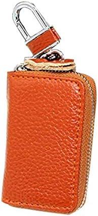 車のキーバッグ、男性と女性のための適切なフェイクレザーキーホルダーオーガナイザーキーホルダージッパーケースポーチ財布 (Color : Orange)