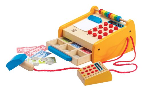 - Hape Checkout Register Kid's Wooden Pretend Play Set