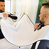 Beard Apron, Beard Trimming Catcher Cape with Strong Suction Cups Gift for Men Facial Hair Catcher Grooming Shaving (White)