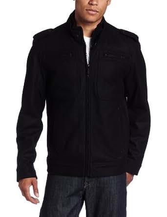 Buffalo by David Bitton Men's Melton Zipper Front Outerwear, Black, Large