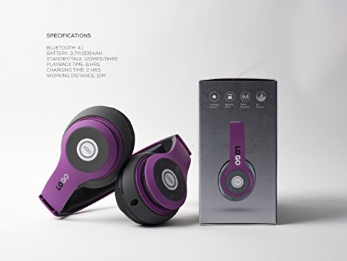 iJoy Matte Rechargeable Wireless Bluetooth Foldable Over Ear Headphones with Mic, EDM by iJoy (Image #2)