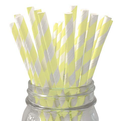 LANTERNS AND MORE Pale Yellow Striped 25Pc Paper Straws ()
