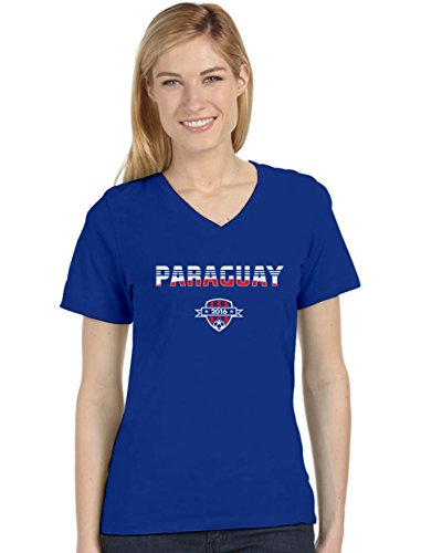 Paraguay National Soccer Team 2016 Paraguayan Fans Women's Fitted V-Neck T-Shirt XX-Large Blue ()