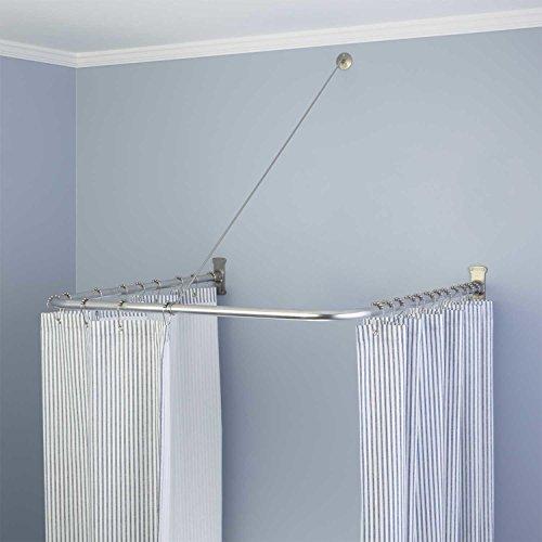 naiture 36 l x 36 w brass u shaped shower curtain rod chrome finish buy online in uae. Black Bedroom Furniture Sets. Home Design Ideas