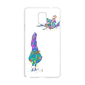 Yearinspace Alice in Wonderland Samsung Galaxy Note 4 Case Alice & Cheshire Cat, Girls Alice in Wonderland, {White}