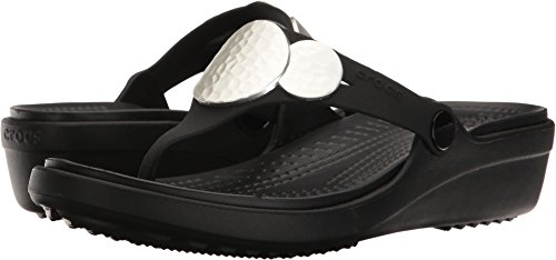 Embellished Flip Wedge Sandal, Black/Silver Metallic, 8 M US ()