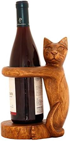 G6 colección de madera tallada a mano gato siamés botella de vino soporte de decoración para el hogar: Amazon.es: Hogar