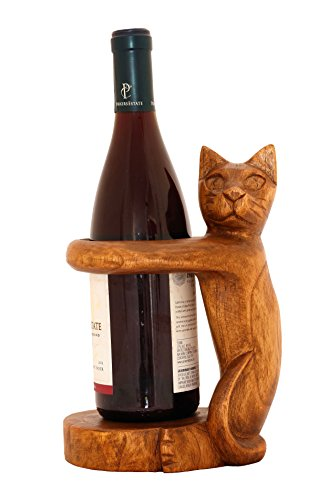 G6 Collection Wooden Handmade Wine Rack Bottle Holder Free Standing Siamese Cat Wood Rustic Hand Carved Home Decor Accent Decoration Gift Bar Art Handcrafted Decorative Artwork
