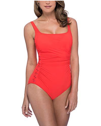 Profile by Gottex Women's Side Detail Scoop Neck One Piece Swimsuit, Moto Tangerine, 10