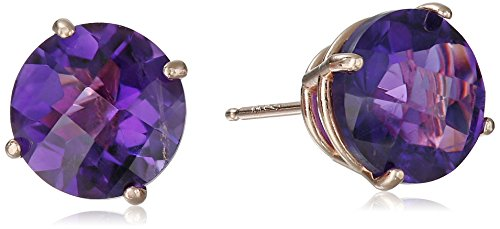 10k Rose Gold Round Checkerboard Cut Amethyst Studs (8mm)
