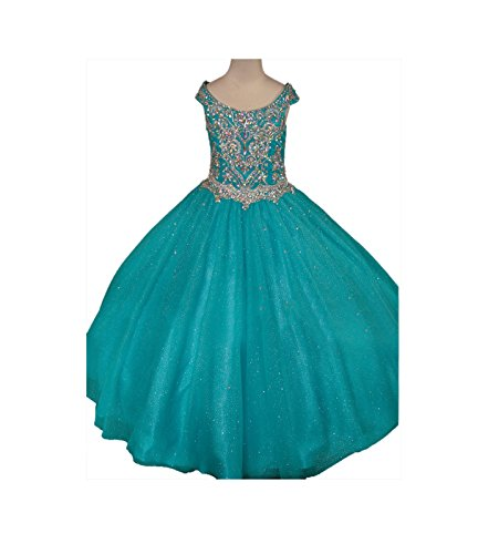 GreenBloom Little Girls' Sparkle Tulle Glitz Princess Round Neck Straps Pageant Formal Dress Teal 16